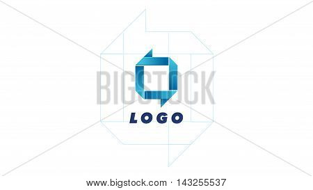 Technology square web logo. Vector O, Q logo design. Abstract blue company logo. Business icon for tech company. Logo lines flat and minimal.