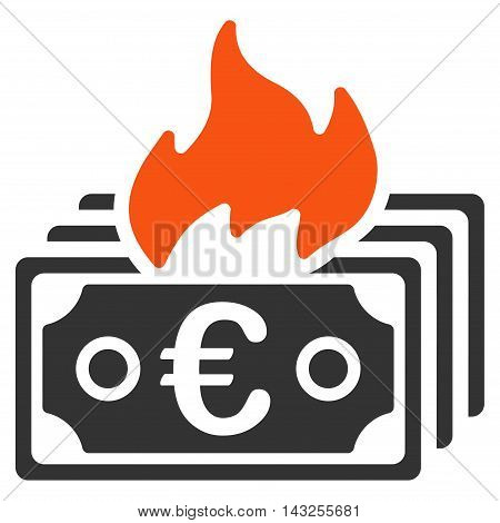 Burn Euro Banknotes icon. Glyph style is bicolor flat iconic symbol with rounded angles, orange and gray colors, white background.