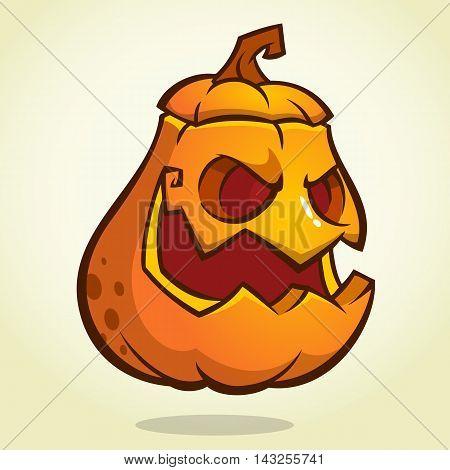 Halloween scary pumpkin head scarecrow vector illustration for Halloween holiday