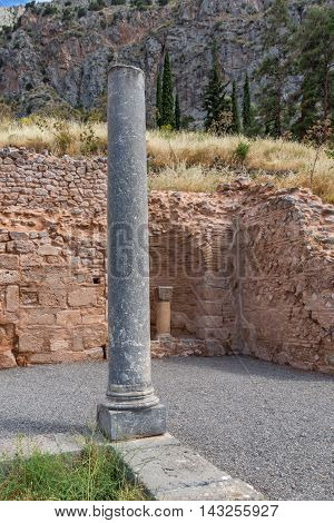 Columns of Ancient Greek archaeological site of Delphi,Central Greece