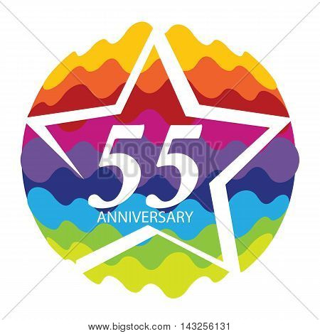 Template Logo 55 Anniversary Vector Illustration EPS10