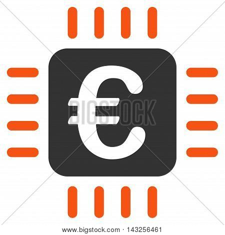 Euro Chip icon. Glyph style is bicolor flat iconic symbol with rounded angles, orange and gray colors, white background.