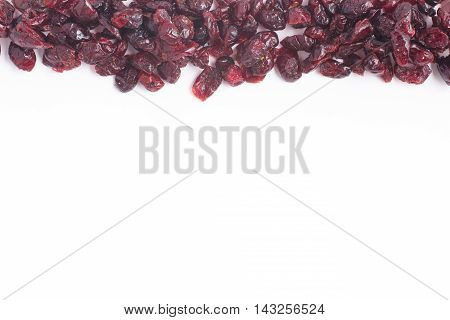 Dried Cranberries Frame in white background. Dry