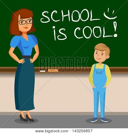 Teacher and schoolboy writing on chalk board. Back to school. Vector illustration