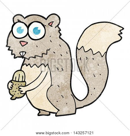 freehand drawn texture cartoon angry squirrel with nut