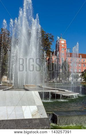 Amazing view of Town Hall and Fountain in the center of City of Pleven, Bulgaria