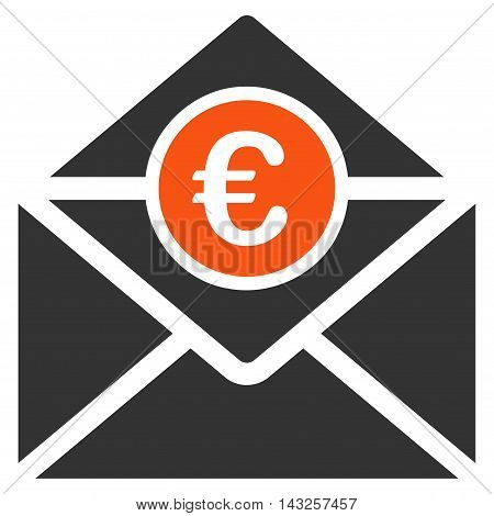 Euro Mail icon. Glyph style is bicolor flat iconic symbol with rounded angles, orange and gray colors, white background.