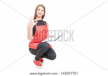 Joyful Employee Making Ok Sign
