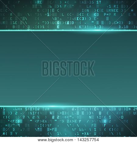 Technology computer digital data code matrix background with empty place for text. Dark blue vector illustration for website or print.