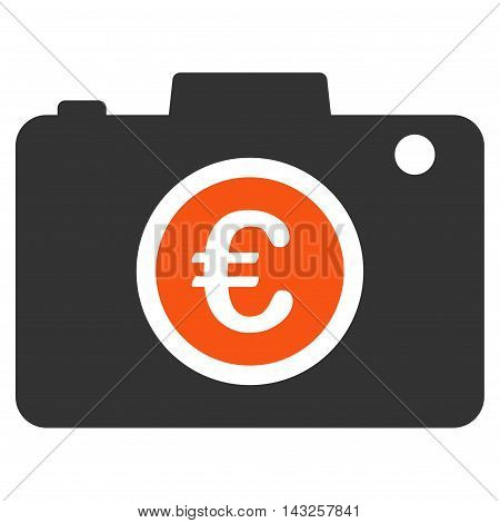Euro Photo icon. Glyph style is bicolor flat iconic symbol with rounded angles, orange and gray colors, white background.