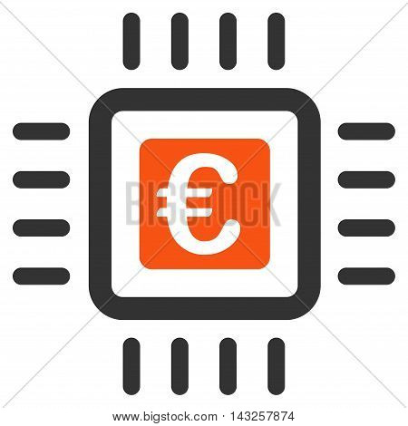 Euro Processor icon. Glyph style is bicolor flat iconic symbol with rounded angles, orange and gray colors, white background.
