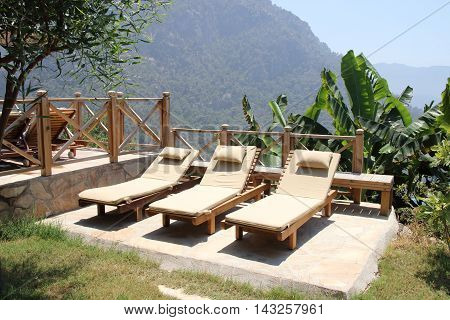 A relaxing area with sunbeds at Kabak in Turkey, 2016