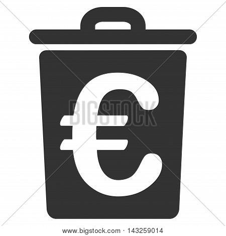 Euro Trash icon. Glyph style is flat iconic symbol with rounded angles, gray color, white background.