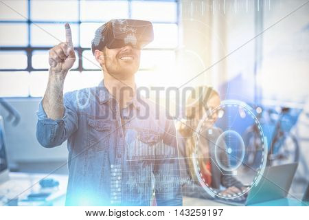 technology interface against male graphic designer using the virtual reality headset