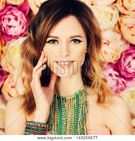 Pretty Woman on Blossom colorful Floral Background