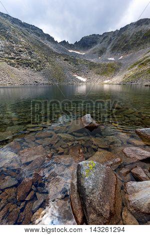 Amazing view of Ledenoto (Ice) Lake and Musala Peak, Rila mountain, Bulgaria