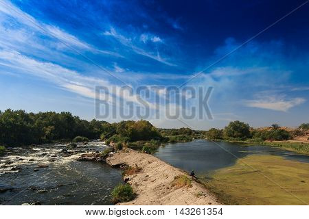 The rapids on the Dniester. Beautiful landscape.