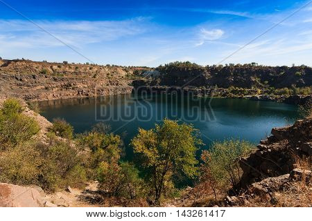 Lovely view of the man-made lake was formed in the quarry.