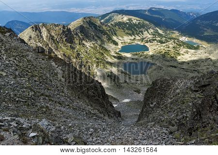 Amazing Panorama to Musalenski lakes from Musala Peak, Rila mountain, Bulgaria