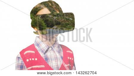 Close-up of boy wearing virtual reality simulator against view of road