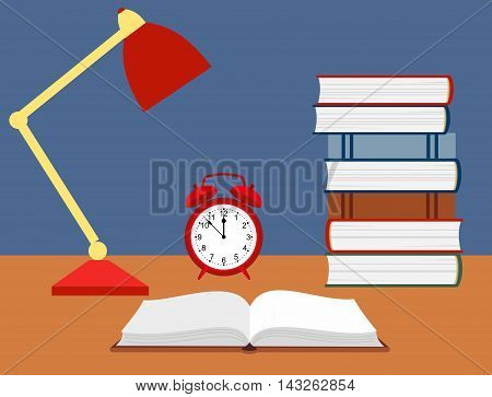 vector illustration of an open book, alarm clock and a reading lamp on the desk.