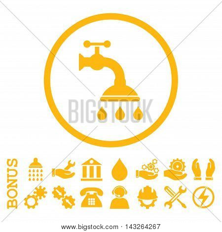 Shower Tap glyph icon. Image style is a flat pictogram symbol inside a circle, yellow color, white background. Bonus images are included.