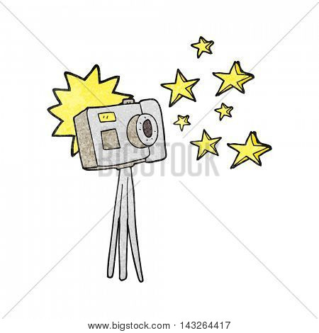 freehand textured cartoon camera on tripod with flash