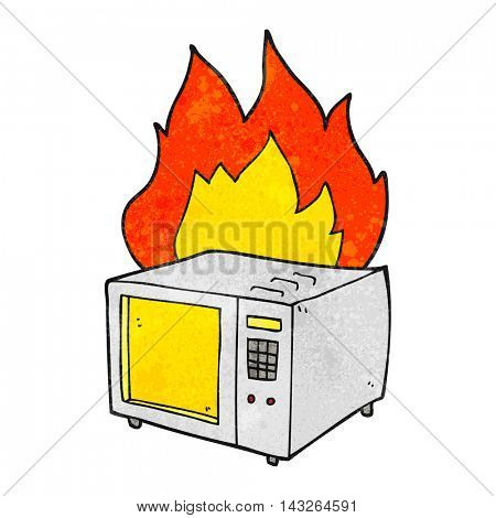 freehand textured cartoon microwave on fire