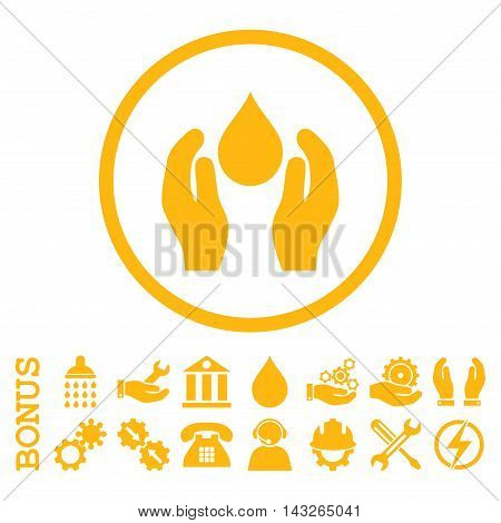 Water Care glyph icon. Image style is a flat pictogram symbol inside a circle, yellow color, white background. Bonus images are included.