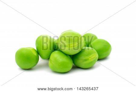 fresh green peas isolated on a white background. Studio photo