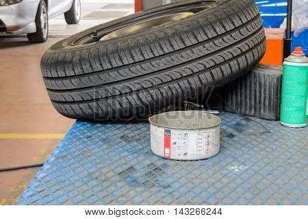 A tire fixed ready to mount on car