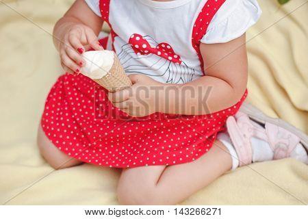 Beautiful Young Girl Eating Tasty Ice Cream