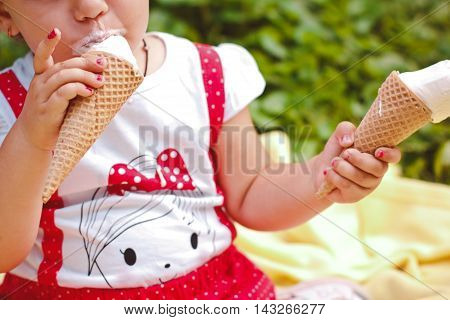 Beautiful Young Girl Eating Tasty Ice Cream