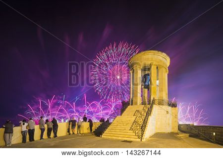 Malta Fireworks Festival at Valletta from Siege Bell War Memorial