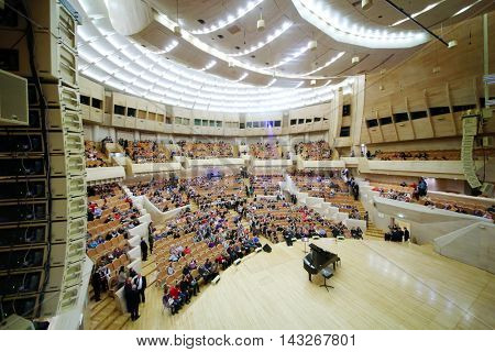 MOSCOW - APR 20, 2015: Concert hall after concert devoted to 100th anniversary of David Ashkenazy in House of Music, Svetlanov hall