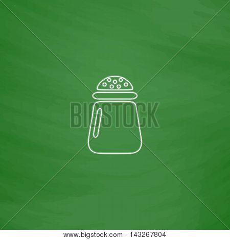 salt Outline vector icon. Imitation draw with white chalk on green chalkboard. Flat Pictogram and School board background. Illustration symbol