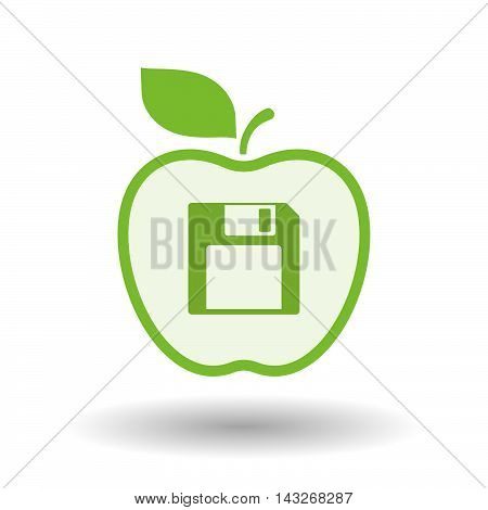 Isolated  Line Art Apple Icon With A Floppy Disk