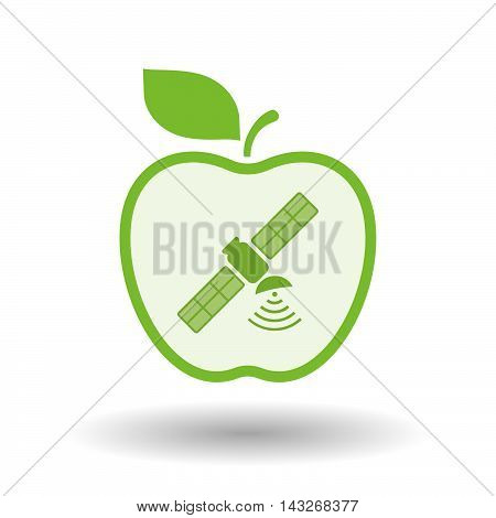 Isolated  Line Art Apple Icon With A Satellite