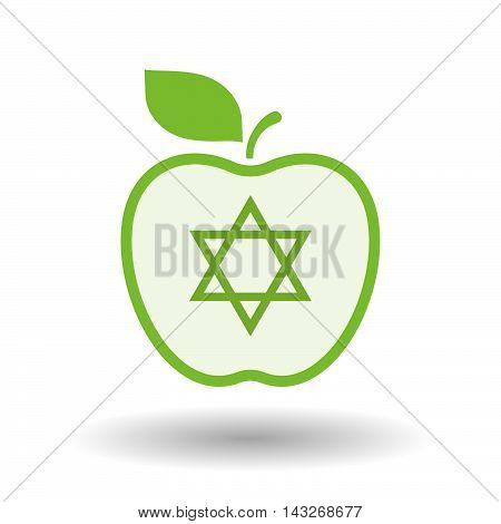 Isolated  Line Art Apple Icon With A David Star