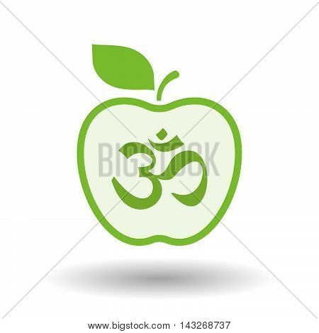Isolated  Line Art Apple Icon With An Om Sign