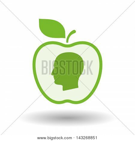 Isolated  Line Art Apple Icon With A Male Head