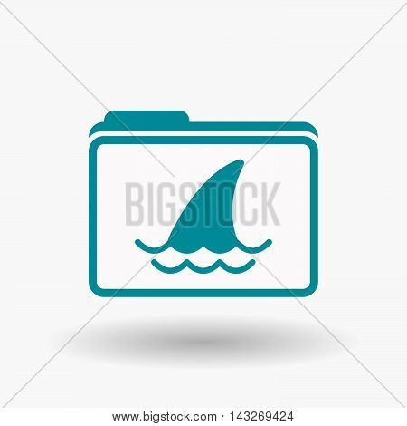 Isolated  Line Art  Folder Icon With A Shark Fin
