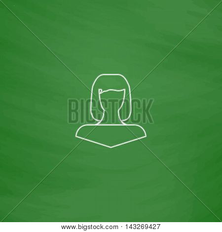 Girl head Outline vector icon. Imitation draw with white chalk on green chalkboard. Flat Pictogram and School board background. Illustration symbol