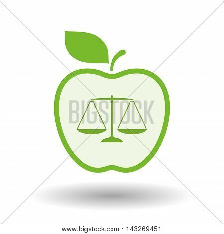 Isolated  Line Art Apple Icon With A Justice Weight Scale Sign