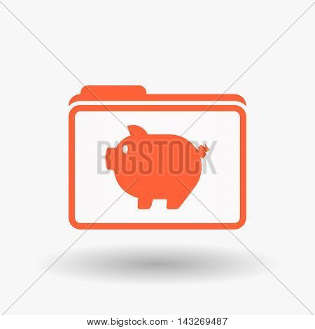 Isolated  Line Art  Folder Icon With A Pig