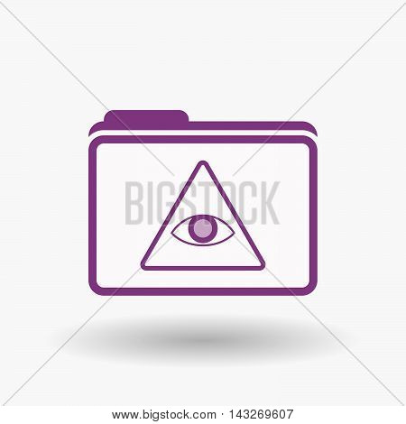 Isolated  Line Art  Folder Icon With An All Seeing Eye