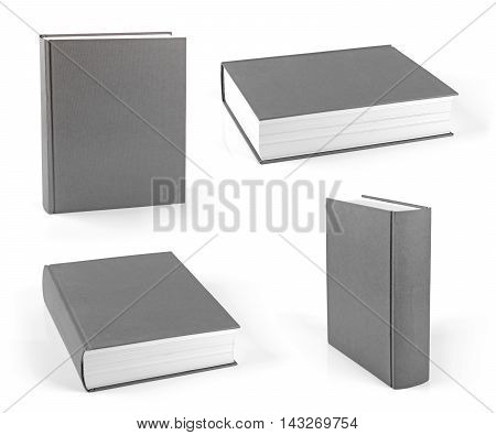 set of blank gray hardcover books isolated on white