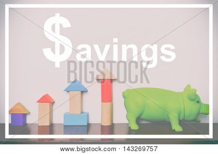 Savings concept with toy block graphic and piggy bank vintage tone.