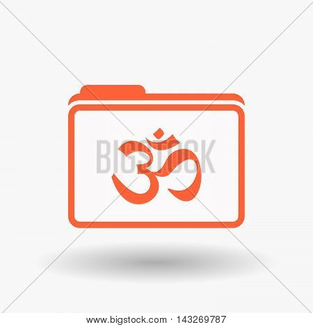 Isolated  Line Art  Folder Icon With An Om Sign