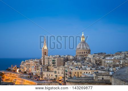 Valletta, Malta - St.Paul's Anglican Cathedral at blue hour